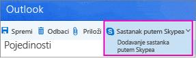 Nova mogućnost Skype sastanak u programu Outlook na webu