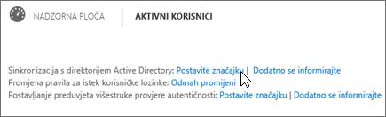Odaberite Postavljanje uz mogućnost Sinkronizacija servisa Active Directory