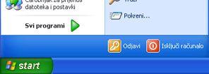 gumb start i naredba pokreni u sustavu windows xp