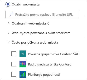 Odabir web-mjesta u web-dijelu novosti