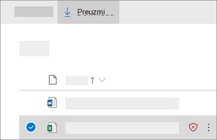 Snimka zaslona preuzimanja blokirane datoteke na servisu OneDrive za tvrtke