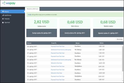 Snimke zaslona: prikazuje WePay računa upravljanje Početna stranica