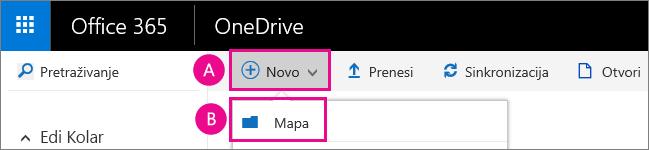 Stvorite novu mapu na servisu OneDrive za tvrtke.