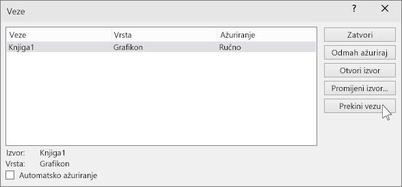 "pokazuje mogućnost ""prekini vezu"" u programu PowerPoint"