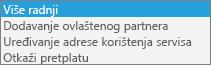 Detalj s izbornika Više akcija.