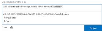 URL dokumenta u objavi sažetka sadržaja novosti oblikovan zaslonskim tekstom