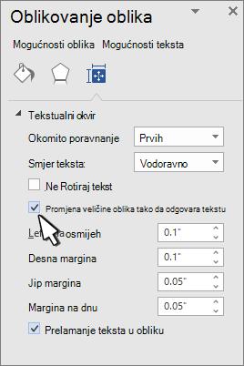 Oblikovanje oblika sa oblikom promjene veličine za odabrani tekst