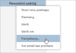 Snimka zaslona Kontekstni izbornik za mape s Premjesti odabrana