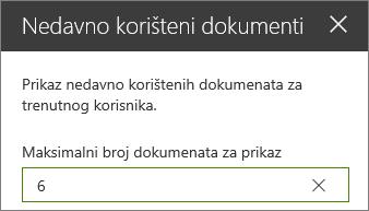 Okno svojstva nedavno korištenih dokumenata web-dijela.