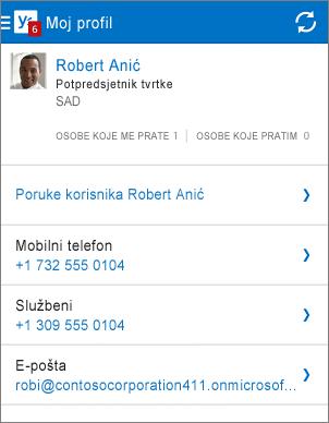 Stranica profila u aplikaciji Yammer
