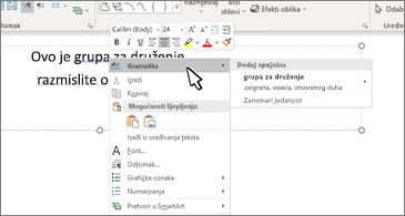Dokument aplikacije Word s podcrtanom gramatičkom pogreškom i preporučenim ispravkom