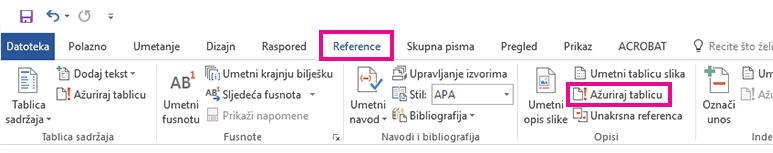Naredba Ažuriraj tablicu nalazi se na kartici Reference.