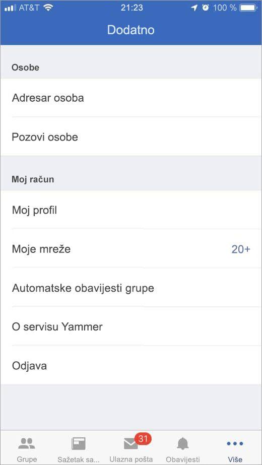 iOS Yammer stranicu koja sadrži popis dodatne mogućnosti