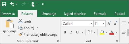 Prikazuje se živopisna vrpca s temom u programu Excel 2016