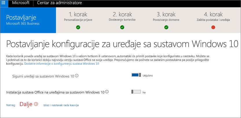 Snimka zaslona stranice Priprema uređaja sa sustavom Windows 10