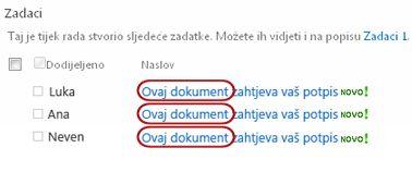 Tekst Pregledati među nazivima zadataka na stranici stanja