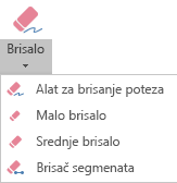 PowerPoint za Office 365 ima četiri gumice za digitalni rukopis.