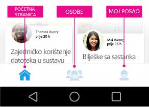 Glavni izbornik značajke Delve za Android