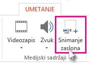 Umetanje > Snimanje zaslona
