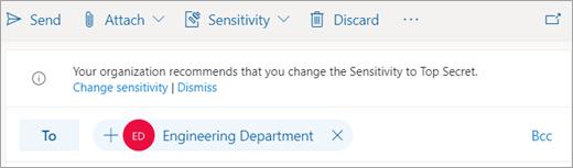 Snimka zaslona s prikazom savjeta o preporučenoj naljepnici osjetljivosti