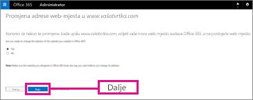 Na stranici Promijenite adresu web-mjesta odaberite Dalje