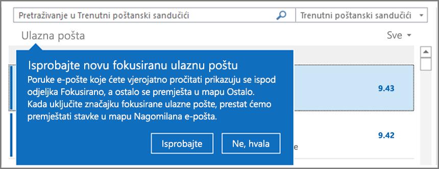 Slika Fokusirane ulazne pošte koja izgleda onako kako se isprva prikazuje korisnicima i kada se Outlook ponovno otvori.