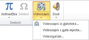 Gumb za umetanje mrežnog videozapisa u programu PowerPoint 2010 na vrpci