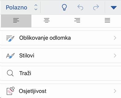 Izbornik osjetljivost na iOS