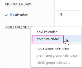 izbornik otvaranje kalendara u web-aplikaciji outlook web app