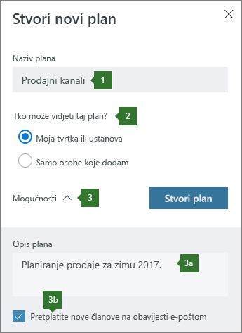 Stvaranje novog plana