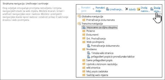 U odjeljku strukturnu u postavkama navigacije s istaknuta Dodaj vezu
