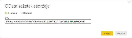 URL OData sažetka sadržaja za Power BI Desktop
