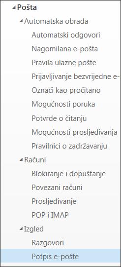 Potpis poruke e-pošte u aplikaciji Outlook na webu