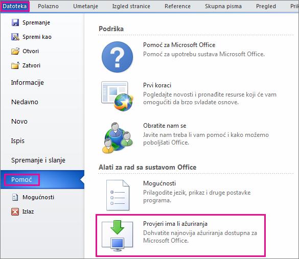 Ručno traženje ažuriranja sustava Office u programu Word 2010
