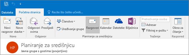 Ovo je što u zaglavlju grupe izgleda u programu Outlook 2016