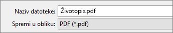Odaberite PDF u okviru Spremi u obliku.