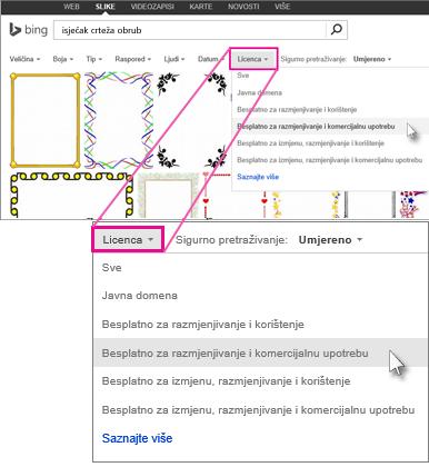 Pretraživanje isječka crteža obruba pomoću filtriranja licenci