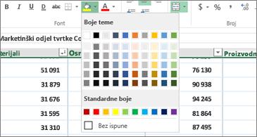 Radni list u pozadini i paleta boja u prednjem planu