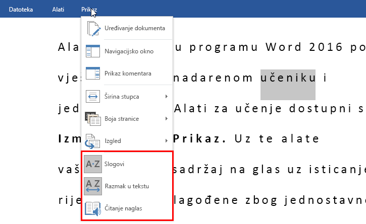 Alati za učenje u programu Word