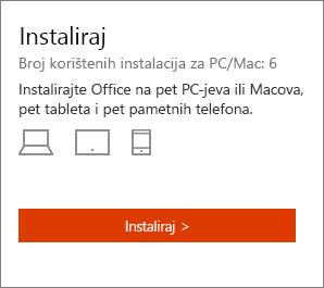 Odjeljak instalacije stranica moj račun sustava Office.