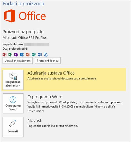 Prikazuje backstage prikaz sustava Office 365