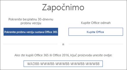 """Prikazuje zaslon """"Krenimo"""", koji označava da se probna verzija sustava Office 365 nalazi se na ovom uređaju"""