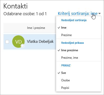 Snimka zaslona s padajućim izbornikom filtra na stranici osobe.