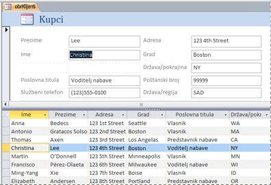 Podijeljeni obrazac u bazi podataka programa Access za računala