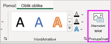 Gumb zamjenski tekst na izborniku Oblikovanje oblika