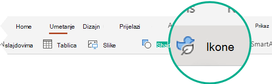 Gumb ikone na kartici Umetanje u programu PowerPoint za web.