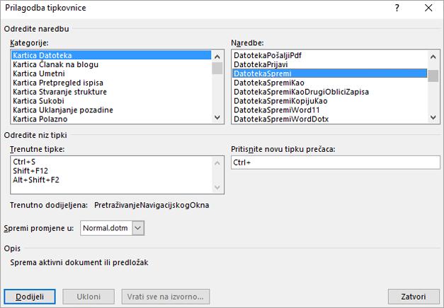 Stvaranje nove tipkovnih prečaca u dijaloškom okviru Prilagodba tipkovnice