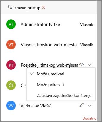 Snimka zaslona s vezama izravnog pristupa