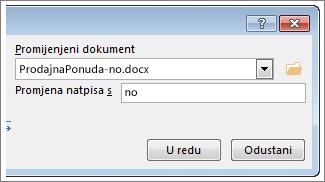 Okvir Promijenjeni dokument