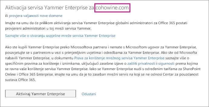 Aktiviraj Yammer Enterprise za domenu.